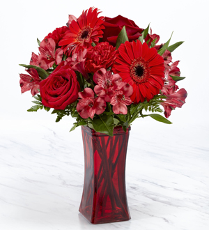 Amour Flowers The FTD® Red Reveal™ Bouquet- VASE INCLUDED Frederick, MD, 21704 FTD Florist Flower and Gift Delivery